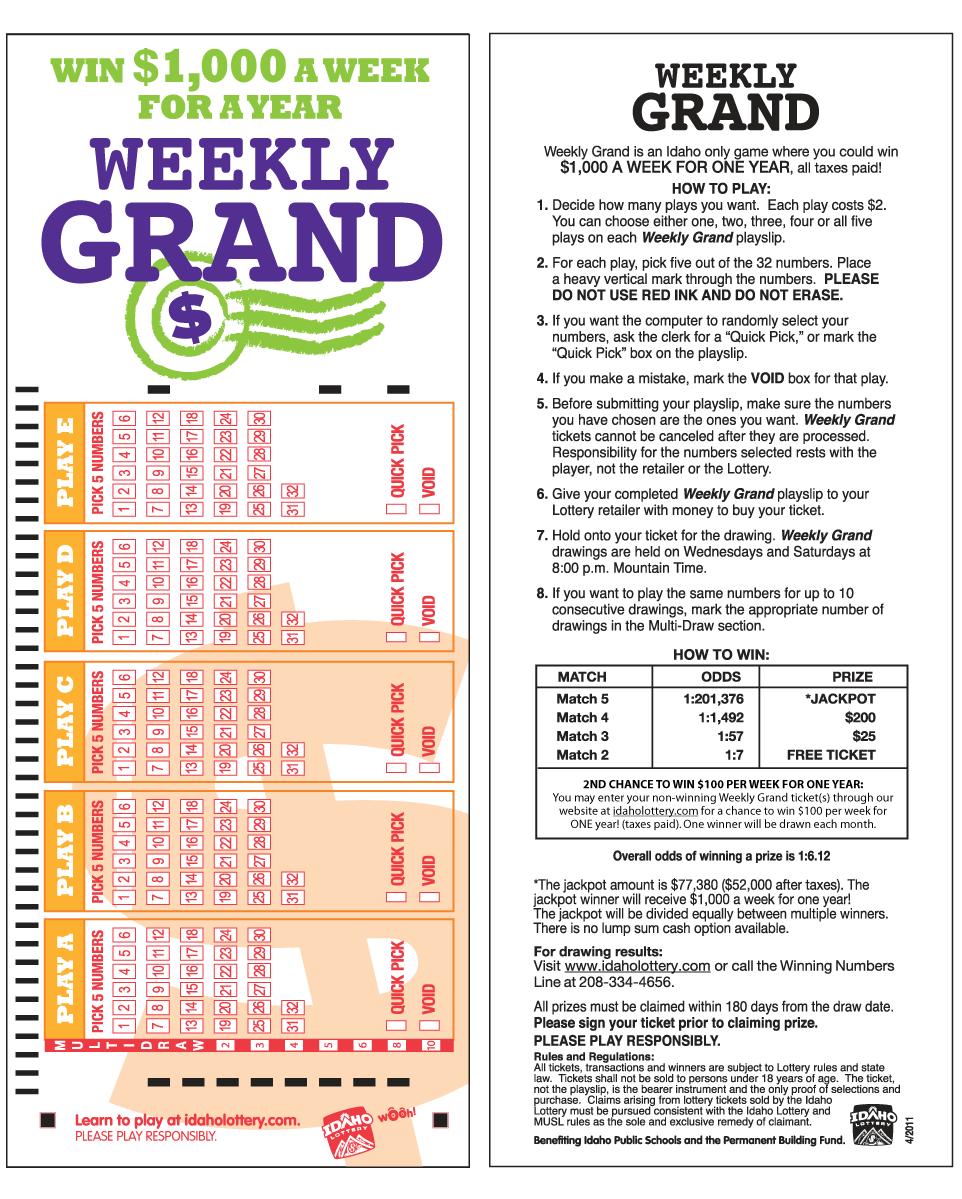 Weekly Grand | Idaho Lottery